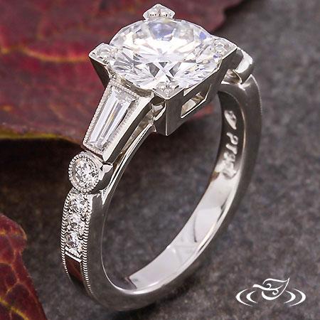 Vintage Baguette Diamond Engagement Ring