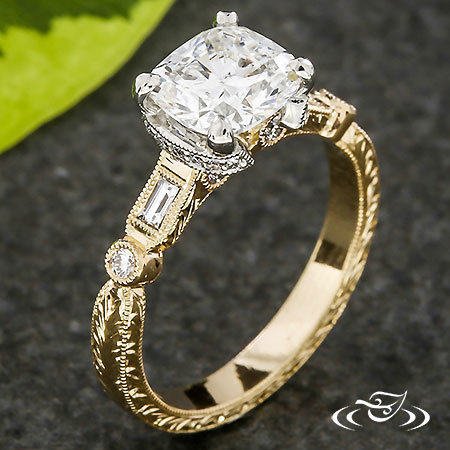 ANTIQUE HALF CROWN TWO- TONE ENGAGEMENT RING