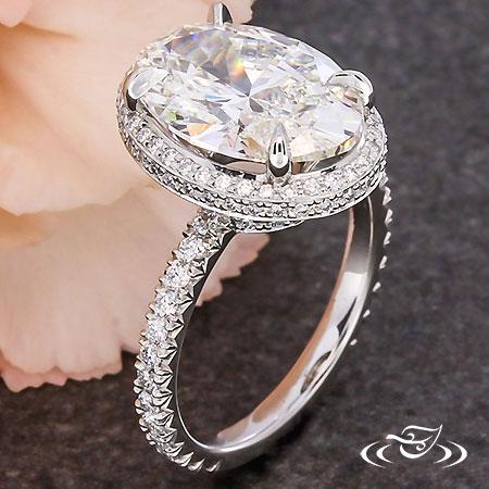 Platinum Oval Halo Engagement Ring