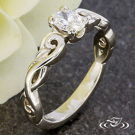 LEAF AND SWIRL ENGAGEMENT RING