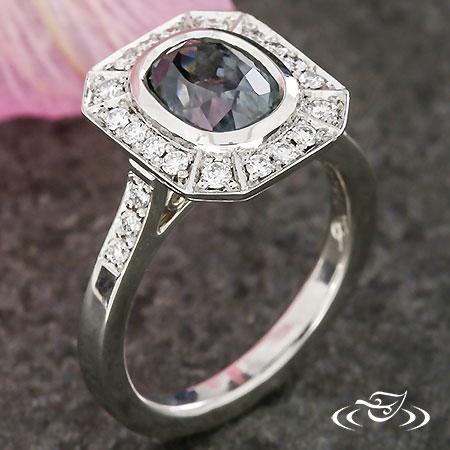 Montana Sapphire Halo Engagement Ring