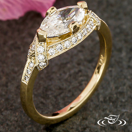 GOLDEN ART DECO MARQUISE ENGAGEMENT RING