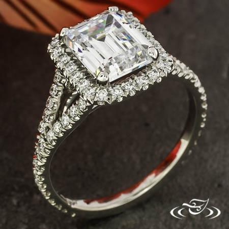 PLATINUM EMERALD CUT DIAMOND HALO