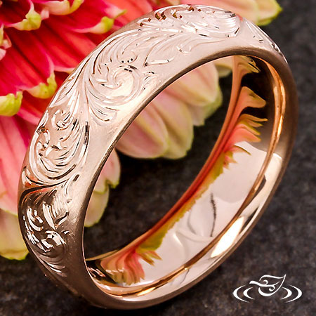 Scroll Engraved Rose Gold Band