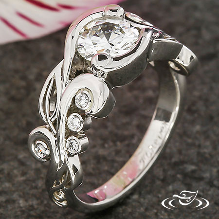 PLATINUM LEAF AND SWIRL ENGAGEMENT RING