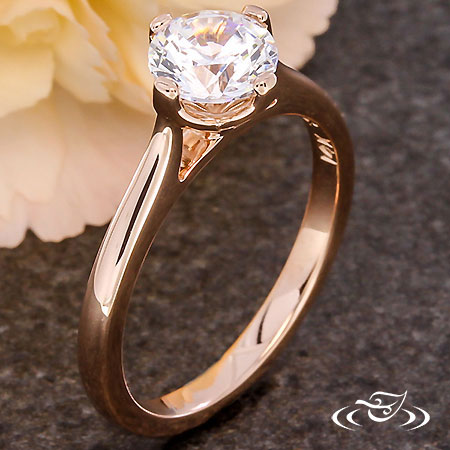 14KT ROSE GOLD TULIP SOLITAIRE