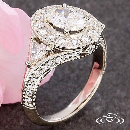 Oval & Trillion Diamond Ring