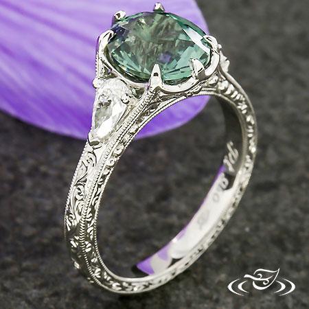 Platinum Antique Style Three Stone Ring With Montana Sapphire