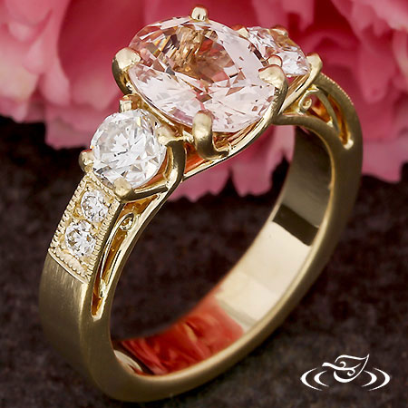 Crossing Trellis Three Stone Engagement Ring