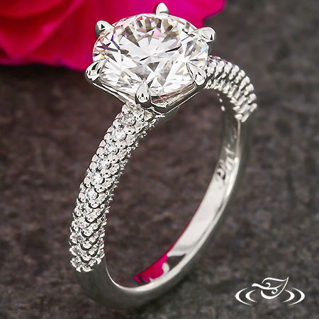 SCALLOP FISHTAIL PAVE ENGAGEMENT RING