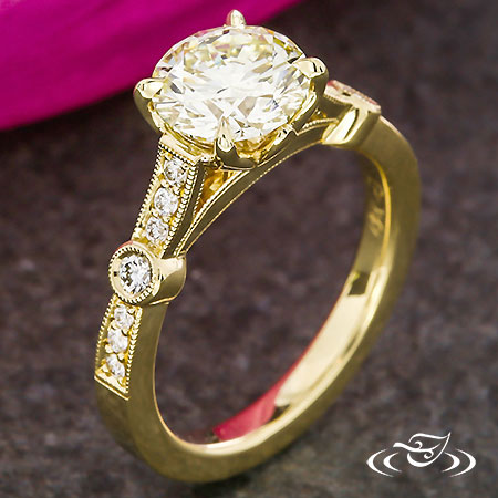 GOLDEN DIAMOND ACCENT ENGAGEMENT RING