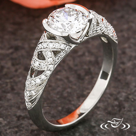 DIAMOND LACE TRINITY KNOT ENGAGEMENT RING