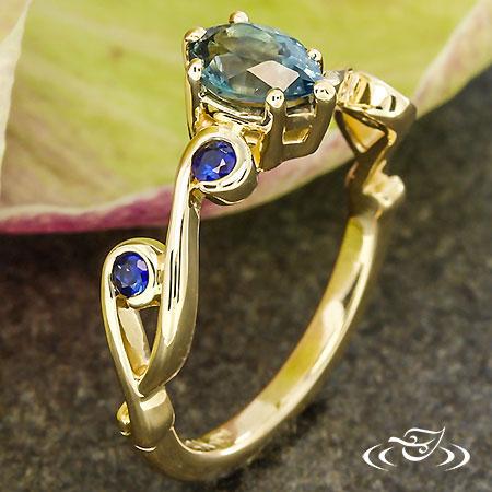 Montana Sapphire Rain Drop Engagement Ring