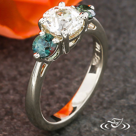 Three Stone Montana Sapphire Engagement Ring