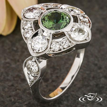 QUATREFOIL SAPPHIRE & DIAMOND ENGAGEMENT RING