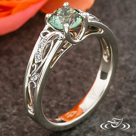 Diamond Swirl Montana Sapphire Ring