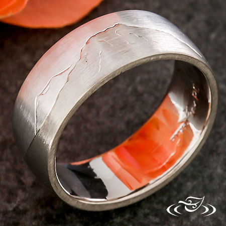 Contemporary Two Tone Mountain Range Band