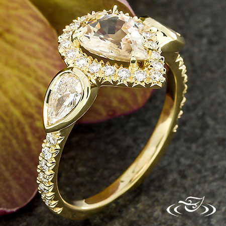 Pear Shaped Sapphire & Diamond Engagement Ring