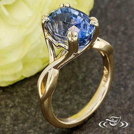 GOLDEN HEART  & BLUE SAPPHIRE ENGAGEMENT RING