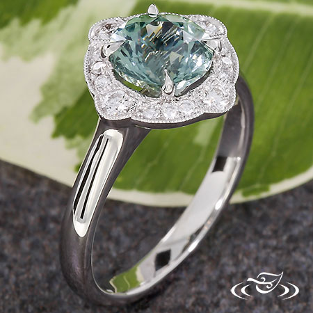 Montana Sapphire Art Deco Halo Engagement Ring