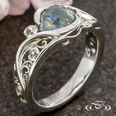 ROSE CUT MONTANA SAPPHIRE FILIGREE WRAP ENGAGEMENT RING