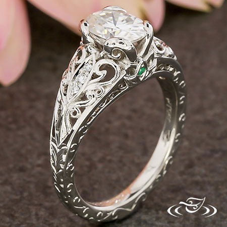 PIERCED LOTUS AND SWIRL ENGAGEMENT RING