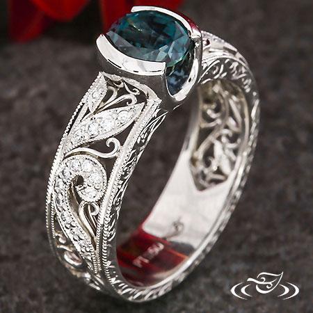 MONTANA SAPPHIRE DIAMOND SWIRL ENGAGEMENT RING