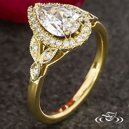 GOLDEN PEAR DIAMOND HALO AND LAUREL ENGAGEMENT RING