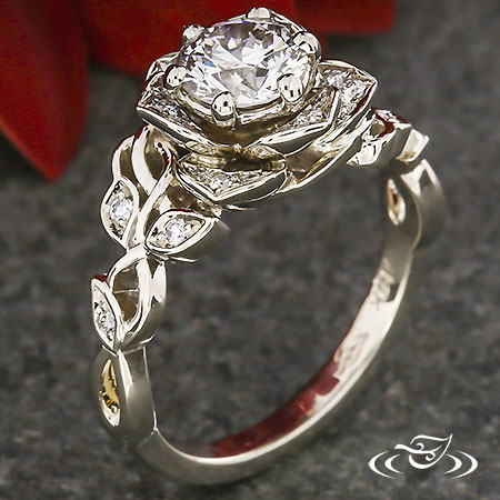 LOTUS HALO ENGAGEMENT RING WITH DIAMOND LEAVES AND VINE