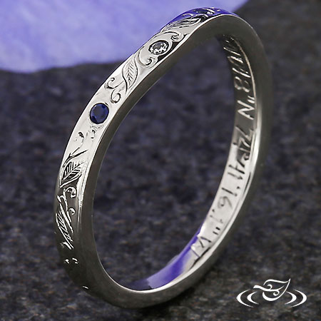 ENGRAVED  SHADOW BAND WITH ACCENTS