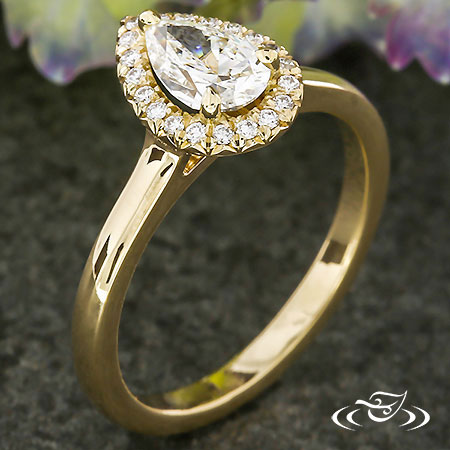 Golden Pear Halo Engagement Ring