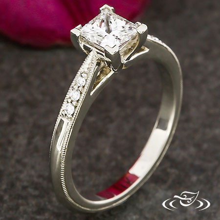 PRINCESS DIAMOND ENGAGEMENT RING WITH MELEE ACCENTS