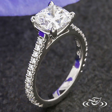 CATHEDRAL CUSHION DIAMOND ENGAGEMENT RING