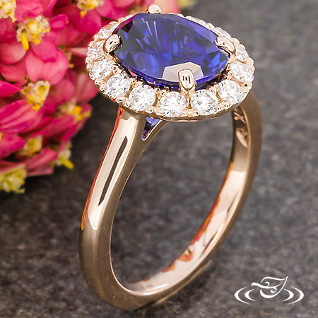 ROSE GOLD BLUE SAPPHIRE HALO ENGAGEMENT RING