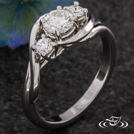 THREE STONE TWIST ENGAGEMENT RING