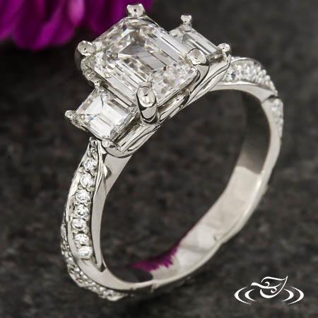 Twisting Three Stone Engagement Ring