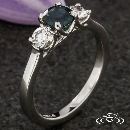 MONTANA SAPPHIRE THREE STONE ENGAGEMENT RING