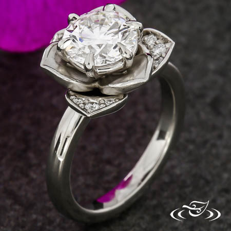 LOTUS HALO ENGAGEMENT RING