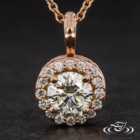 ROSE GOLD DIAMOND HALO PENDANT