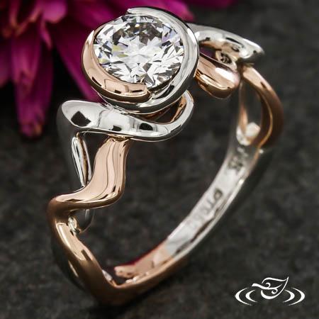 ROSE GOLD & PLATINUM SWIRL ENGAGEMENT RING