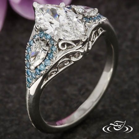 Ocean-Inspired Marquise Engagement Ring