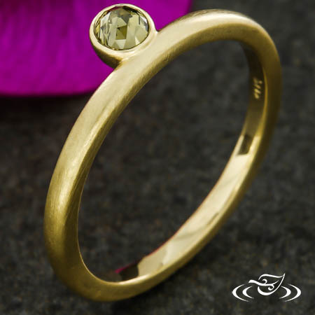 Stackable Rose Cut Green  Diamond Ring