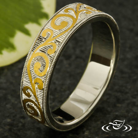 Two Tone Inlay And Engraved Band