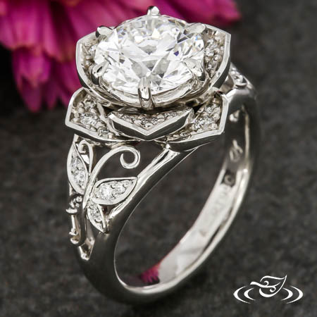 Floral Diamond Ring With Pave Butterflies And Hand Fabricated Filigree
