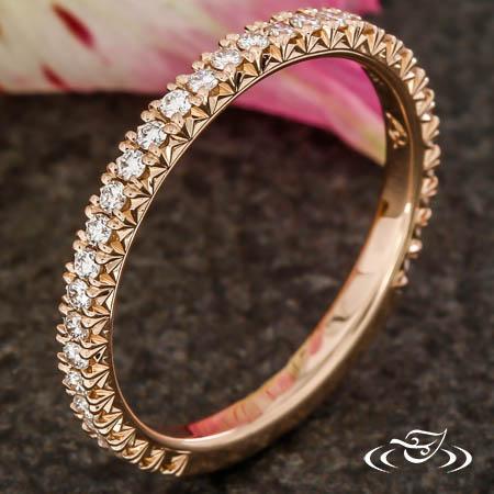 14KT ROSE GOLD FRENCH SET DIAMOND BAND