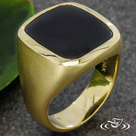 14K YELLOW GOLD SIGNET RING WITH HEIRLOOM ONYX AND GOLD