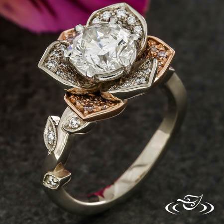 Two Tone Floral Halo With Natural Pink Diamonds