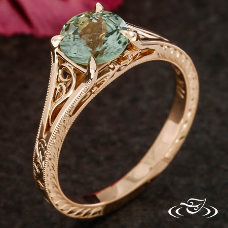 Sun Flower And Cricket Filigree Engagement Ring