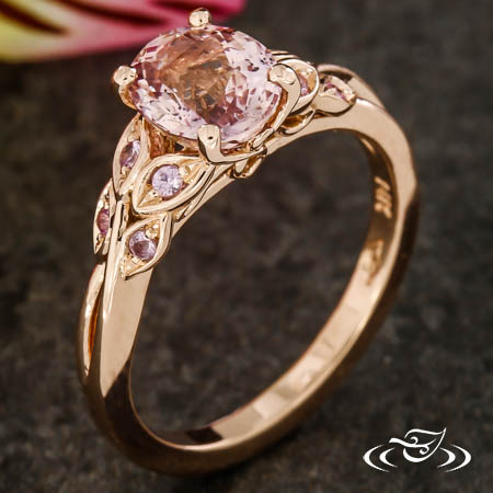 PINK SAPPHIRE AND DIAMOND LEAF ENGAGEMENT RING