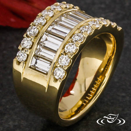 Custom CAD Baguette And Round Diamond Band